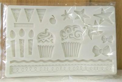 Khuôn chocolate/Fondant silicone hình bánh ngọt tráng miệng